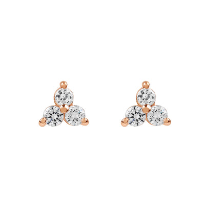 Rose Gold Trinity Cubic Studs