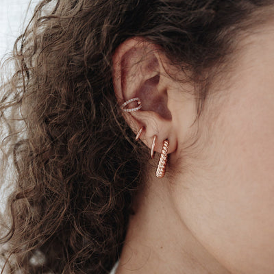 Rose Gold Twisted Rope Hoop Earrings