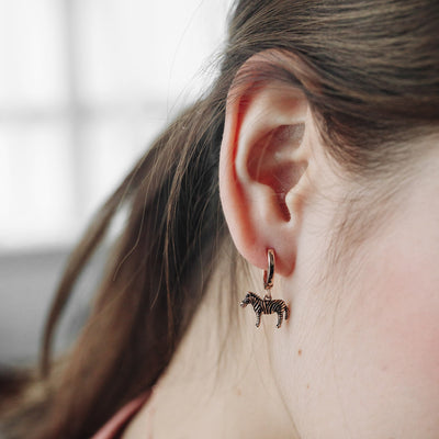 Rose Gold Zebra Hoop Earrings