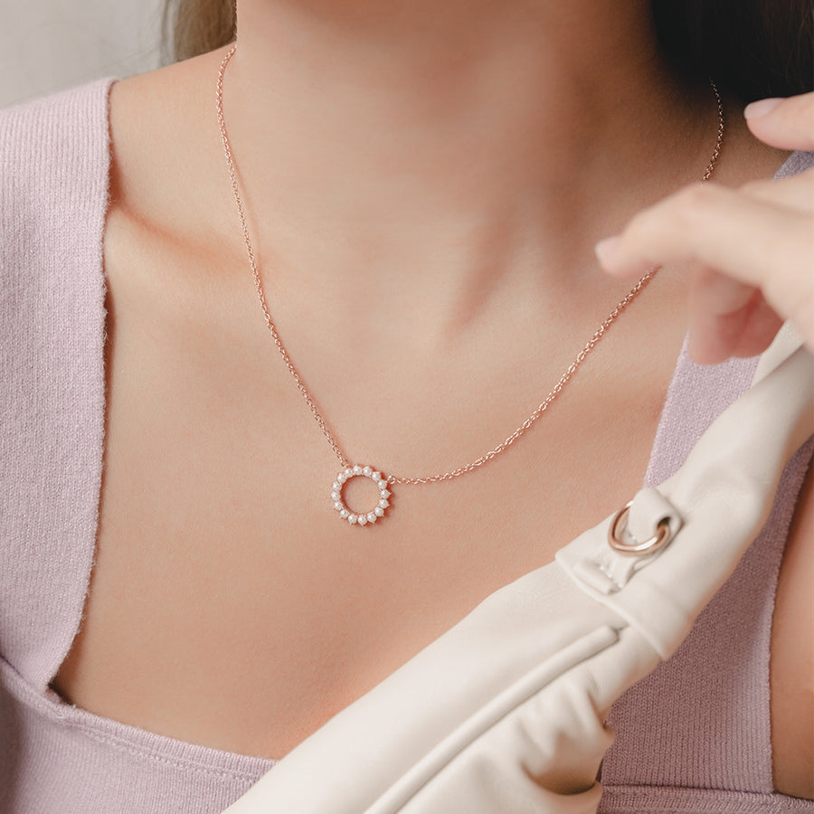 Rose Gold Beth Pearl Necklace