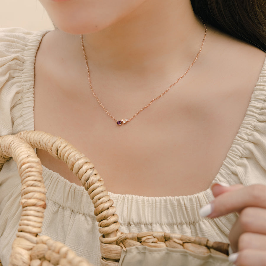 Rose Gold Birthstone Necklace