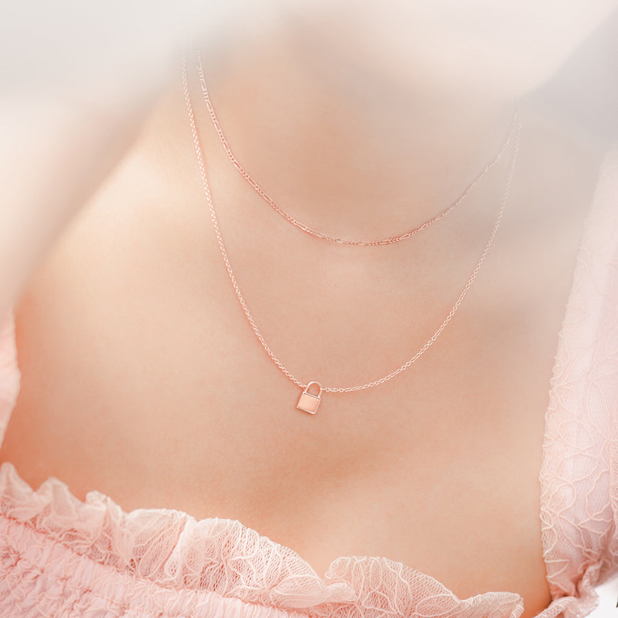 Rose Gold Vermeil Lock Necklace