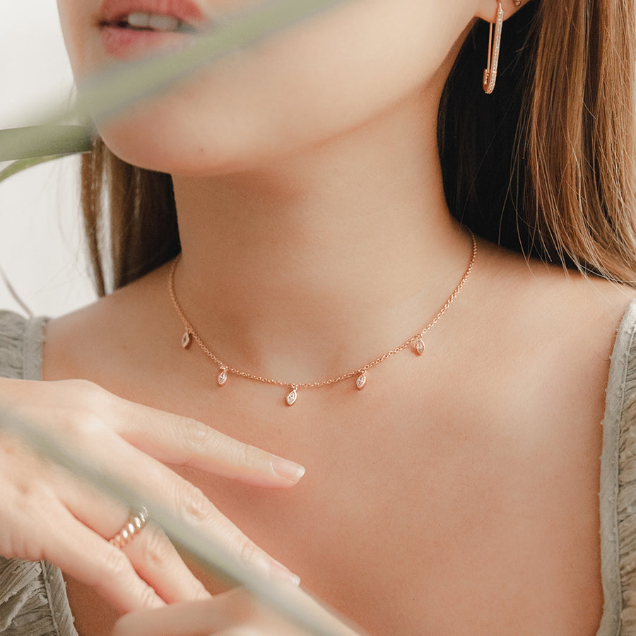 Rose Gold Marquise Cubic Choker