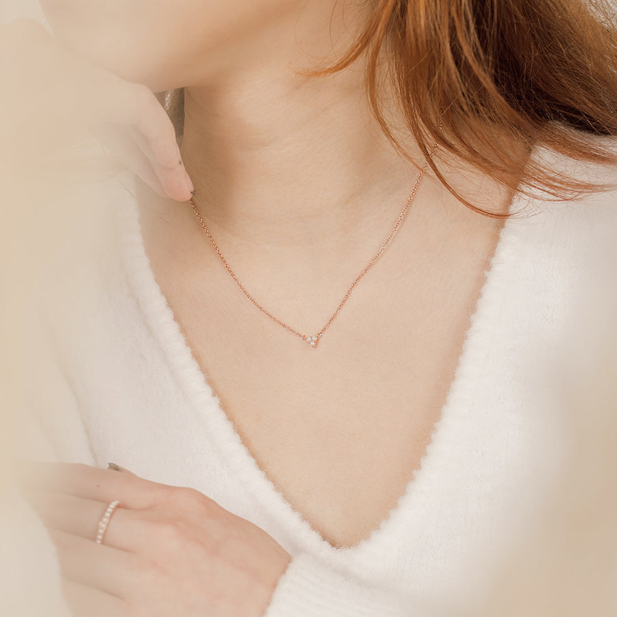 Rose Gold Trinity Pearl Necklace