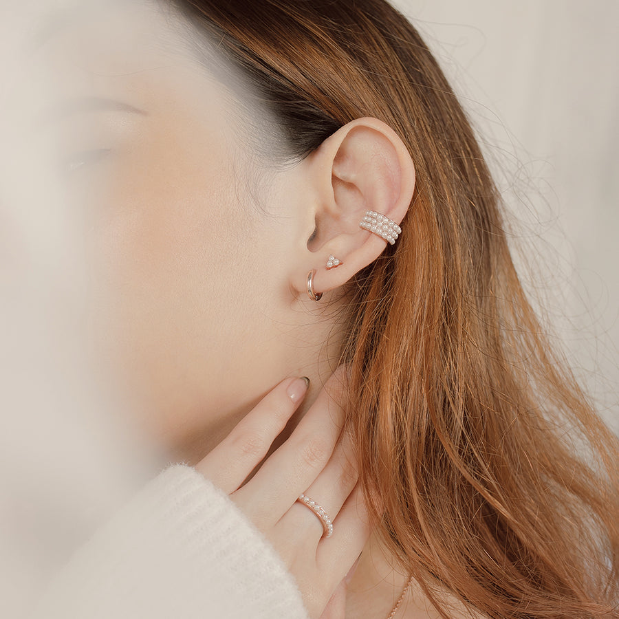 Rose Gold Trinity Pearl Studs