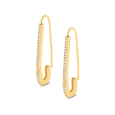Gold Safety Pin Cubic Earrings