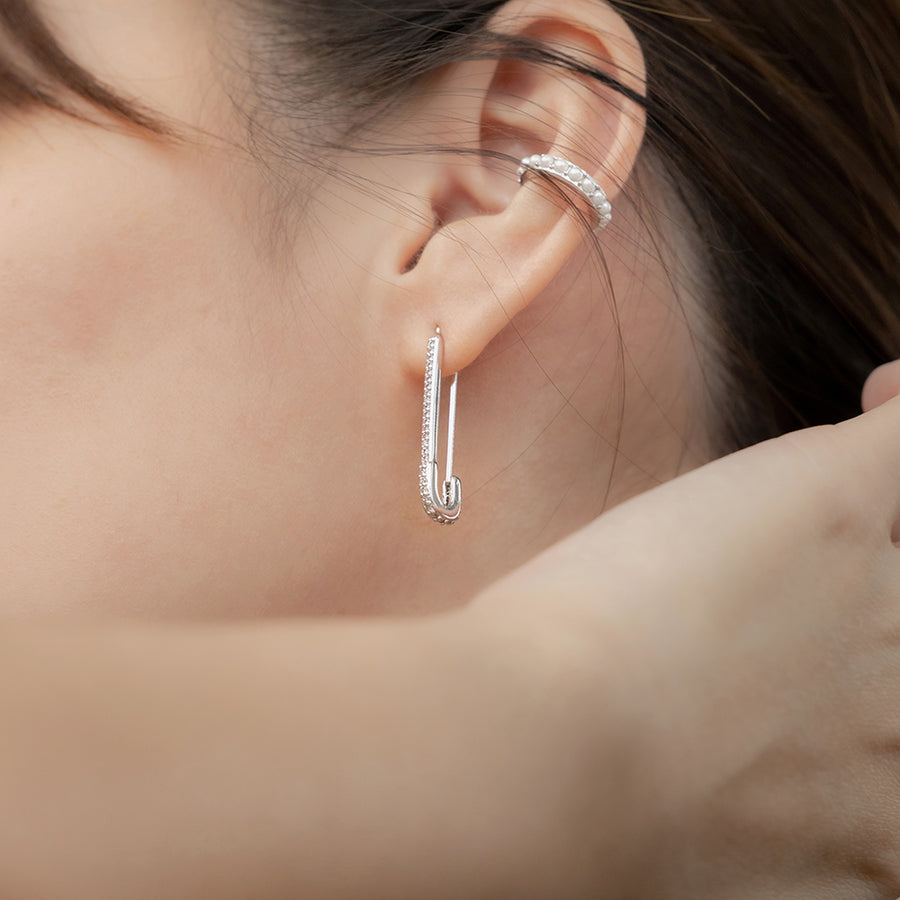 Silver Safety Pin Cubic Earrings