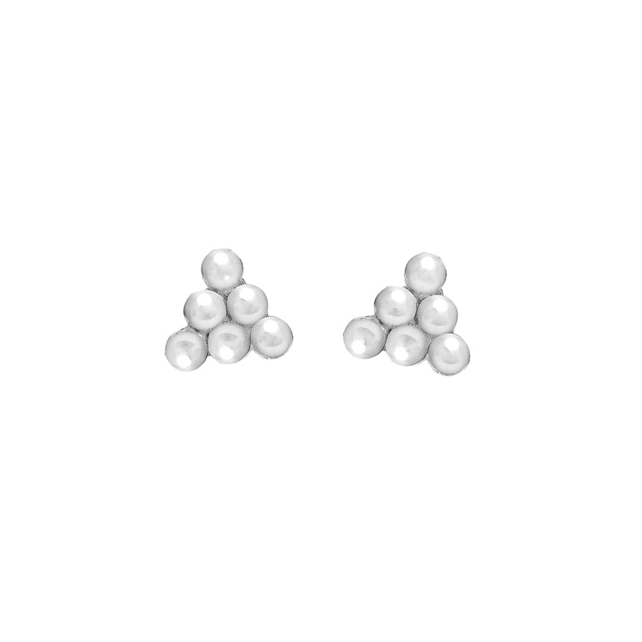 925 Silver Ball Pyramid Ear Studs
