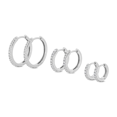 Silver Reversible Cubic Hoop Earrings (Set of 3)