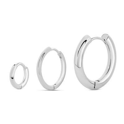 Silver Basic Hoop Earrings (Set of 3)