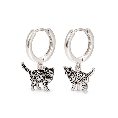 Silver Leopard Hoop Earrings