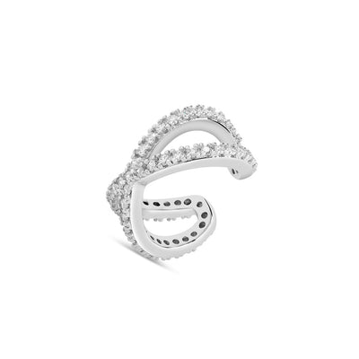 925 Silver Cubic Cross Ear Cuff