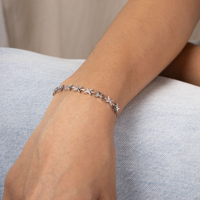 Silver Star Crossed Bracelet