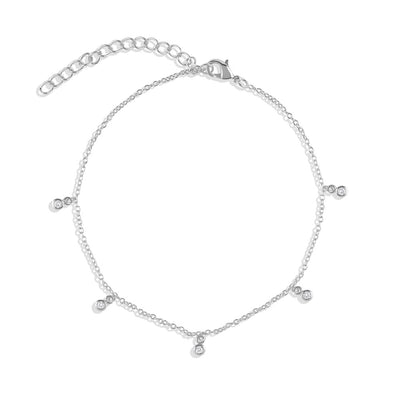 925 Silver Crystal Cubic Anklet
