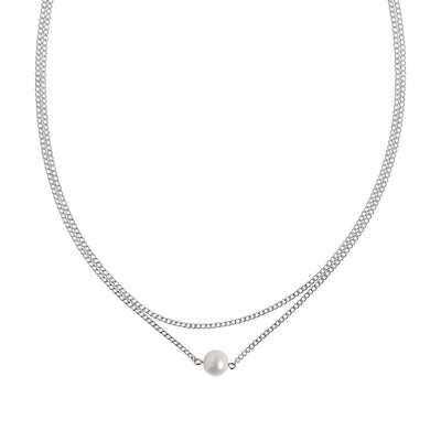 Silver Double Layer Pearl Necklace