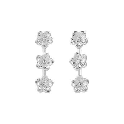 Silver Flores Studs