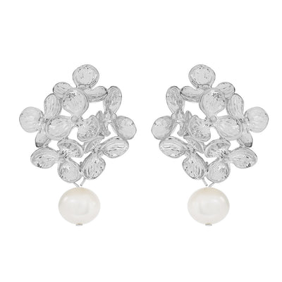 Silver Gloria Pearl Earrings