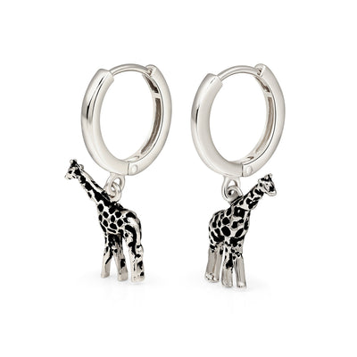 Silver Giraffe Hoop Earrings