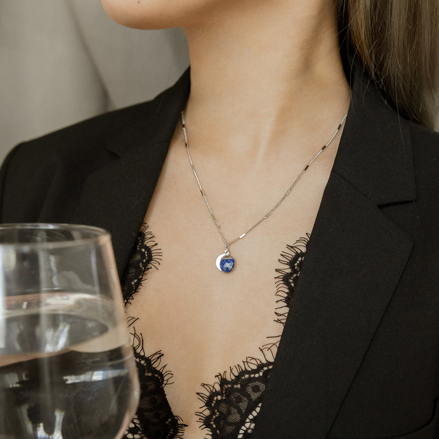Silver Delphine Blue Lapis Necklace