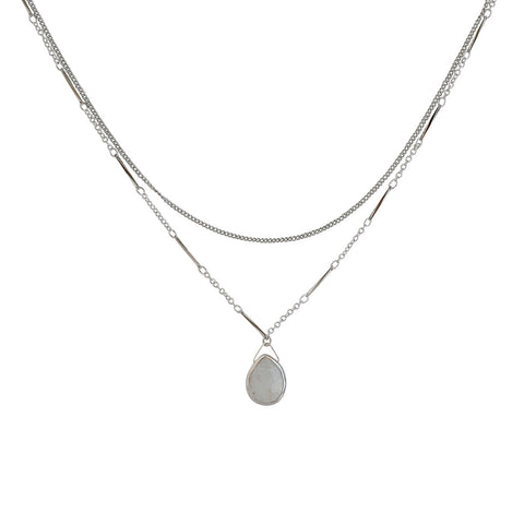 Silver Luna Moonstone Necklace