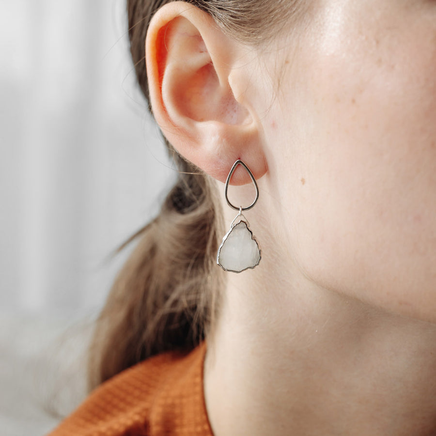 Silver Macey Moonstone Studs