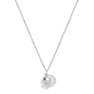 Silver Delphine Moonstone Necklace