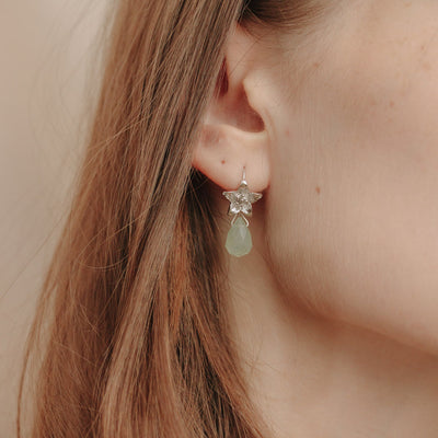 Silver Narcissus Prehnite Earrings