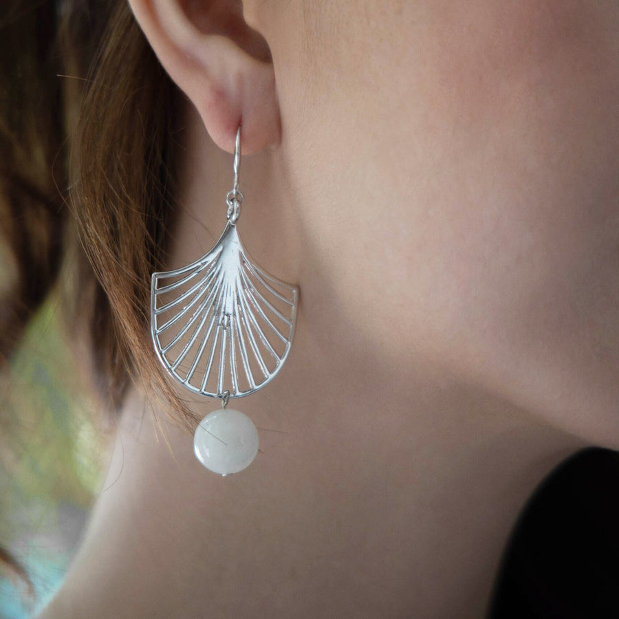 Silver Palmier Moonstone Earrings