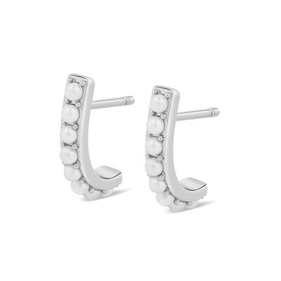 925 Silver Pearl Half Suspenders Earrings