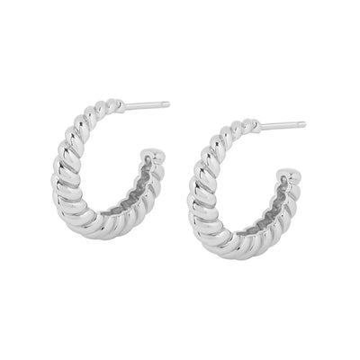 Silver Twisted Rope Hoop Earrings