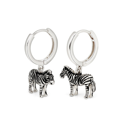 Silver Zebra Hoop Earrings