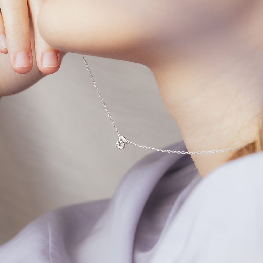925 Silver Mini Initial Cubic Necklace