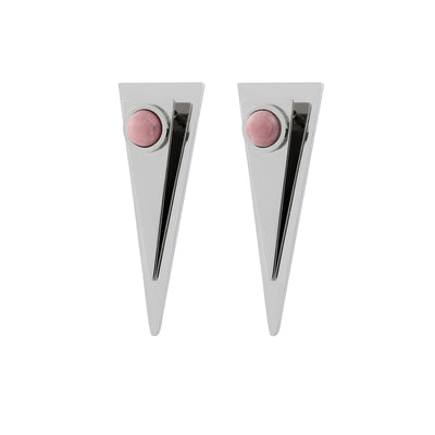 Stainless Steel Athena Rhodochrosite Earrings