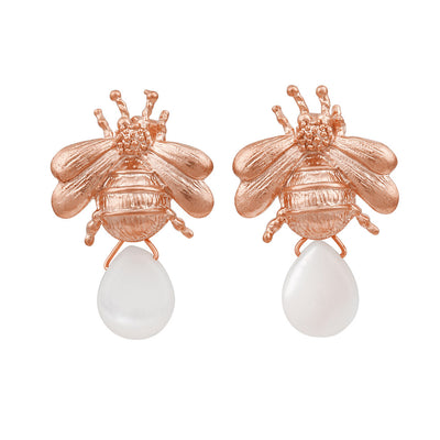 Rose Gold Dionys Bee Earrings
