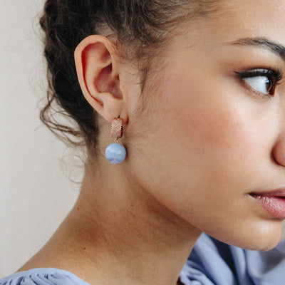 Rose Gold Aubree Blue Lace Agate Earrings