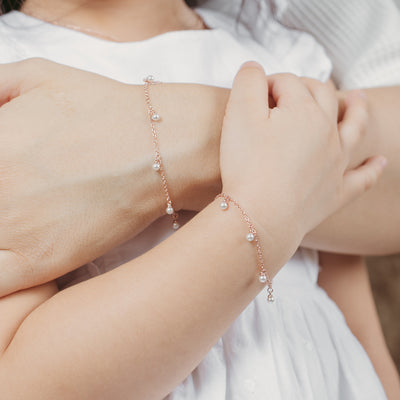 Rose Gold Mommy and Me Perla Bracelet Set