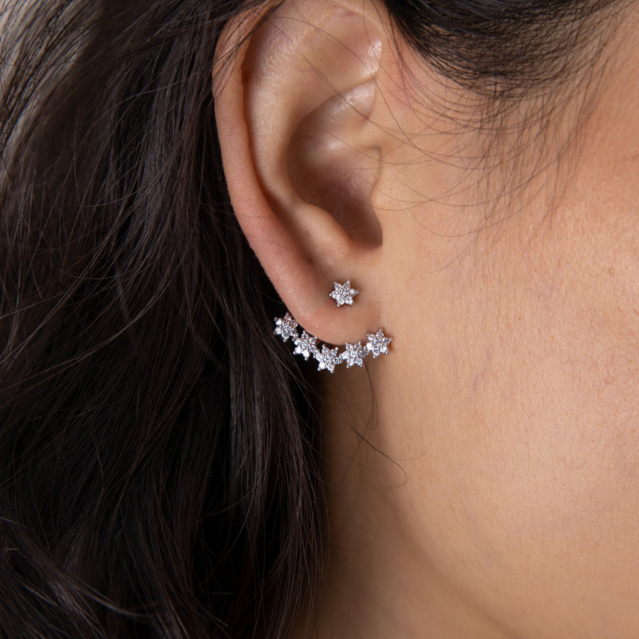 Silver Callie Cubic Ear Jackets