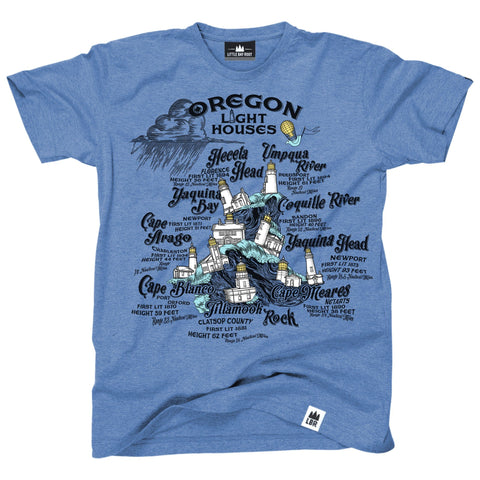 Nine Lighthouses of Oregon | Adult T-Shirt