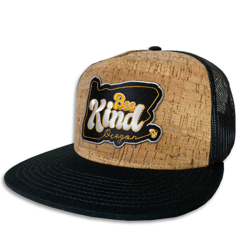 Bee Kind | Cork-front flat bill trucker hat