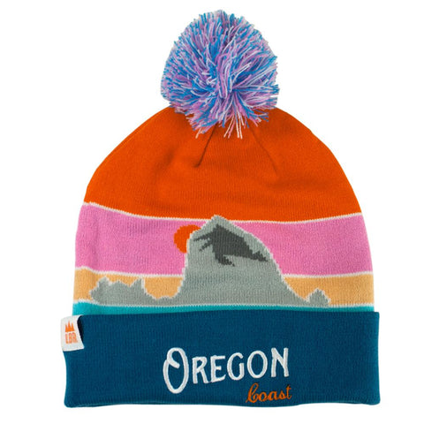 Oregon Coast Vintage | Striped Jacquard Pompom Beanie