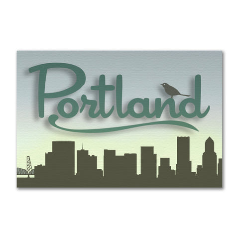 Portland Skyline with Bird | Refrigerator Magnet