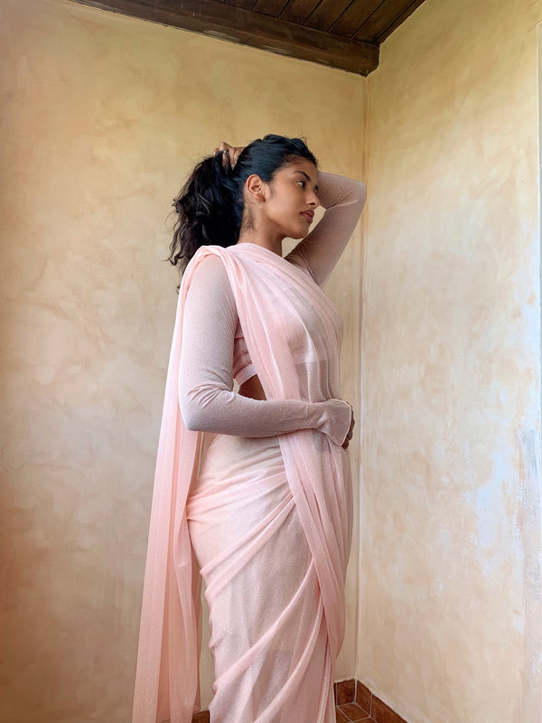 Pastel Pink glitter saree long sleeve