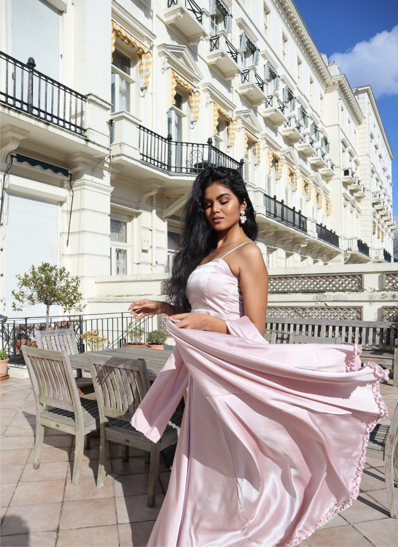 Pastel pink lehenga skirt and shawl
