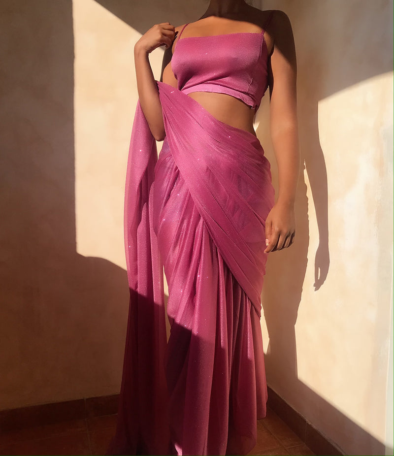 Fuchsia purple glitter saree
