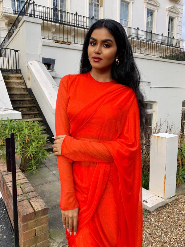 Red glitter Saree long sleeve