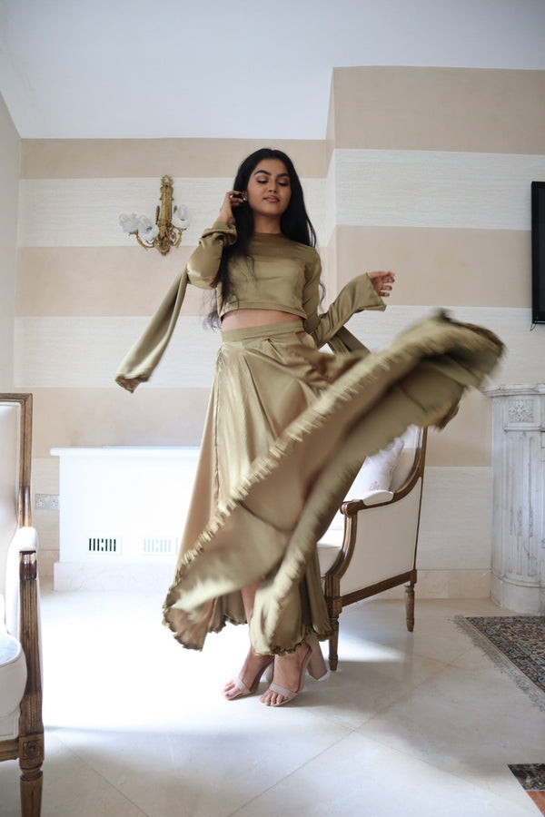 OLIVE GREEN LEHENGA SKIRT AND SHAWL