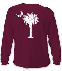 Classic Palm & Moon, Long Sleeve Shirt (maroon)