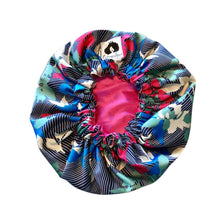 Load image into Gallery viewer, Bold Florals/Pink Reversible Satin Bonnet