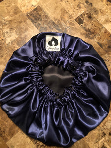 Navy Blue/ Black Solid Reversible Satin Bonnet