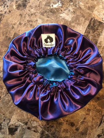 Deep Plum and Teal Solid Reversible Satin Bonnet